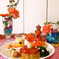 お子様ランチ風☆花と料理で楽しむハロウィンパーティー