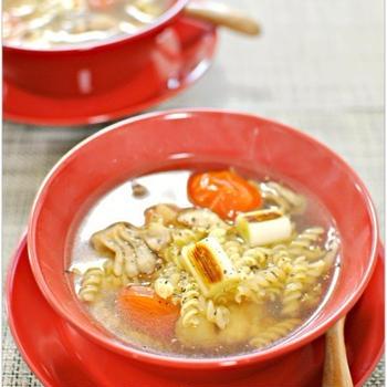 こんがり焼き野菜のほっこり生姜スープパスタ