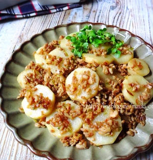♡めんつゆマヨde超簡単♡ひき肉と長芋のそぼろ炒め♡【#時短#節約#フライパン】