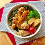 高2男子のお弁当 『鶏もも肉と蓮根の鍋照煮』
