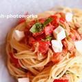 トマトとツナ、クリームチーズの冷製パスタ