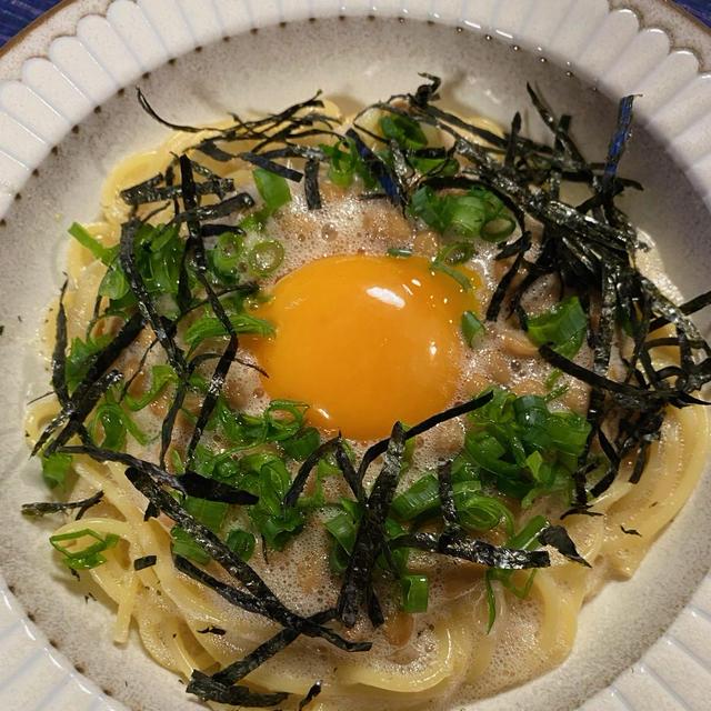 ふわふわっとした食感が美味しい卵納豆パスタ