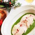 ローリエ風味の鶏胸ハム*グリーンソース☆と、生ハーブの燭台アレンジ