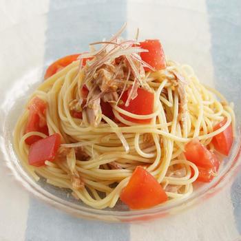 みょうがと梅の冷製ツナトマトパスタ