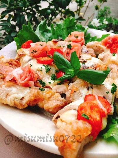 K●C「CHIZZA」風!鶏もも唐揚げの生ハムピザ