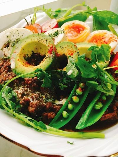 半熟卵といろいろお野菜のキーマカレー