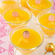 簡単オレンジゼリーのおやつ/蒸し鶏の3ソース添え