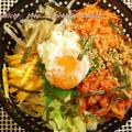 納豆と色々野菜のビビンバ定食★モロヘイヤとごま油の味噌汁&デラウエア付き♪