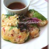 たこと葱とお豆腐の大葉包み ナンプラー花椒のソース