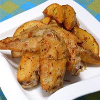 スパイスで簡単おつまみ、手羽先とポテトのローズマリー風味。