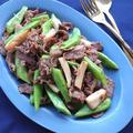 豚肉(こま切れ)とエリンギとインゲン豆の激ウマ炒め