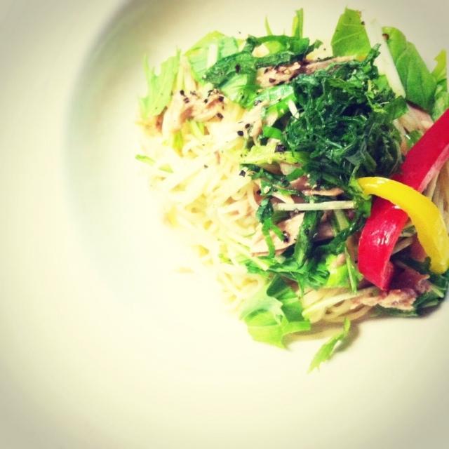 ツナと水菜の冷静パスタ