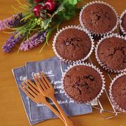簡単ホットケーキミックスでつくる、ダブルチョコレートのカップケーキ