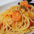 トマトとえびのクリームスパゲッティ