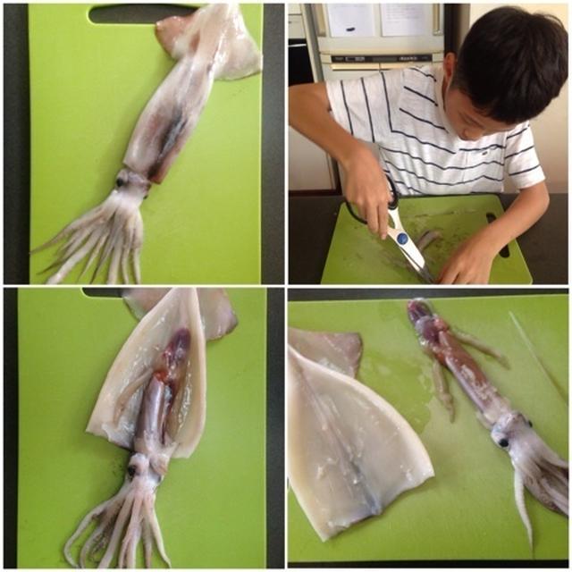 夏休みの自由研究~イカをさばく?~蓮根とイカのマリネ