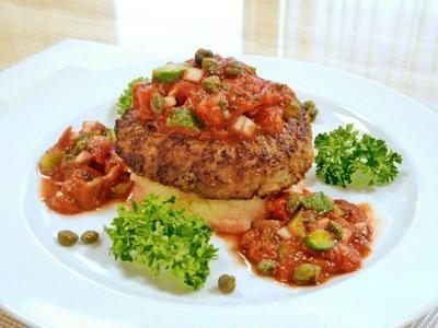 冷たいトマト&胡瓜のソースのハンバーグ♪