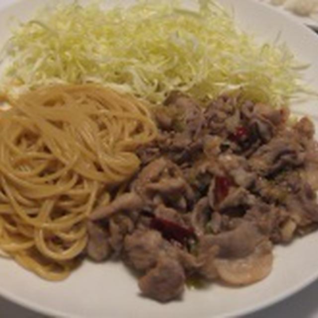 豚肉のスタミナ焼き スパゲッティ