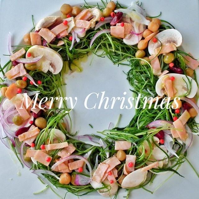 おかひじきで!クリスマスリースサラダ♪