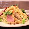 昼カフェ☆菜の花とカモ肉スモークのパスタランチ(簡略レシピ)