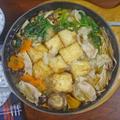 もっちもち揚げ出し豆腐とたっぷりキノコの豚肉みぞれ鍋