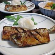 秋刀魚の糠漬け焼きと春菊のピーナッツバター和え