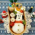 スヌーピー雪だるま弁当ブサイクなスヌーピー( ̄ー ̄)時間がなかったおにぎりの具は... by とまとママさん