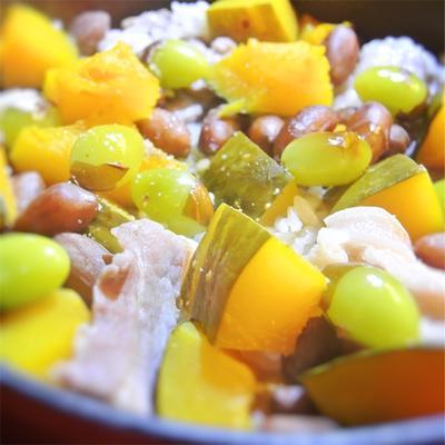 落下豆とかぼちゃ、塩豚の銀杏入り炊き込みご飯