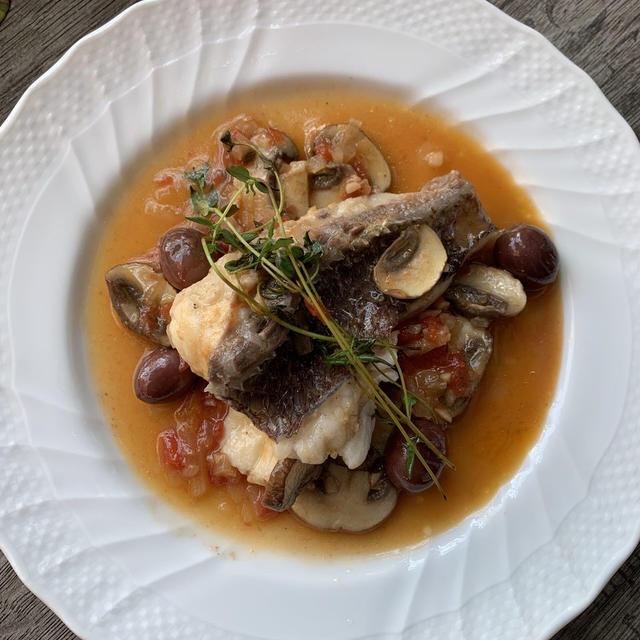 【ボスカイオーラ】真鯛とマッシュルームの木こり風