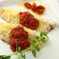 「サクサク鯵(アジ)のチーズ焼き *トマトソース」