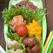 中学生男子弁当|唐揚げ(竜田揚げ)・牛肉の甘辛炒め・かぼちゃのサラダ|地味な誕生日ウィーク