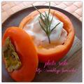 ●柿とスモークサーモンのチーズ白和え●