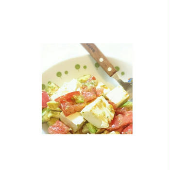 【トマト×アボカド×お豆腐♡美肌サラダ】