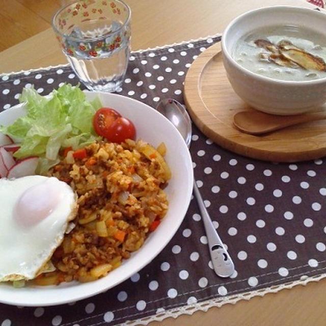 自宅で炒めご飯ランチとぽかぽかスープ☆