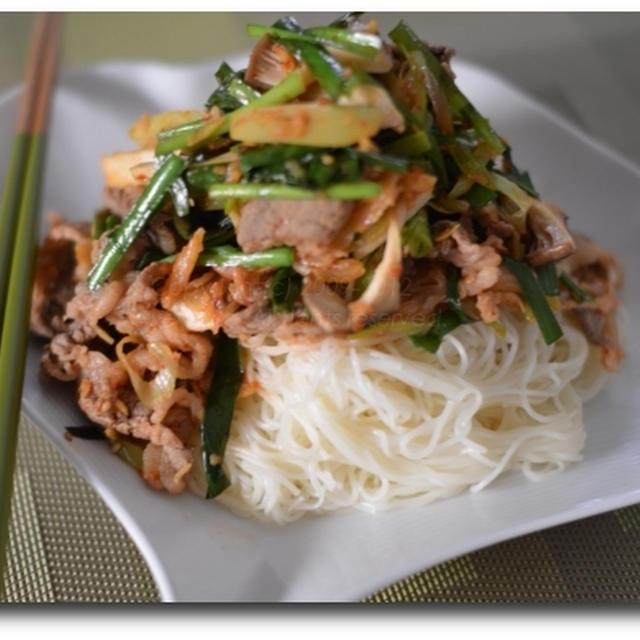 牛カルビキムチ素麺