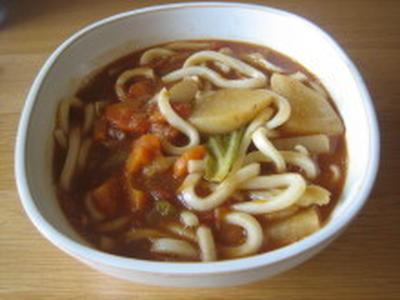 野菜スープでトマトカレーうどん