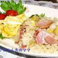 ぱぱっとランチ<セロリとベーコンとふわふわ卵のピラフ>