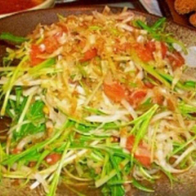 大根と水菜とトマトのサラダ梅肉ドレッシング