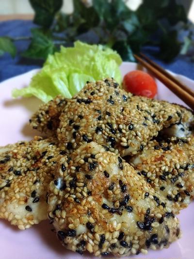 下味は麺つゆで☆ササミのゴマ焼き☆お弁当にも♪ 大雪だ!