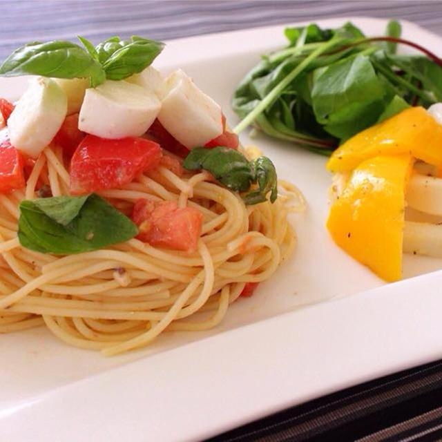 【冷たい炭水化物ダイエットレシピ②】トマトとモッツァレラの冷製パスタ&イカのアーリオオーリオ