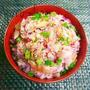 お花見弁当やおにぎりに*塩サバとしば漬けの春色混ぜご飯