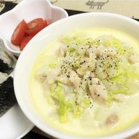 白菜と鶏むね肉のレンチンするだけ簡単チーズスープ