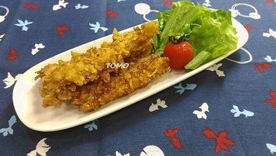 焼肉のタレとコーンフレーク de 鶏胸肉のスティック唐揚げ