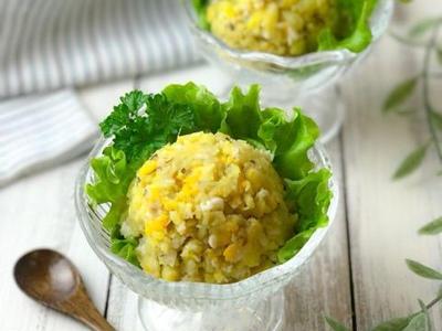 >【レシピ・献立】材料3つレンジで1発、さつまいもと卵のマッシュポテトサラダ by のんすけさん