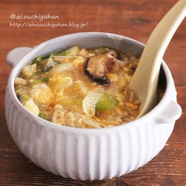 10分でらくらく!めんつゆで失敗なし*白菜とたっぷりきのこのとろみたまごスープ♡