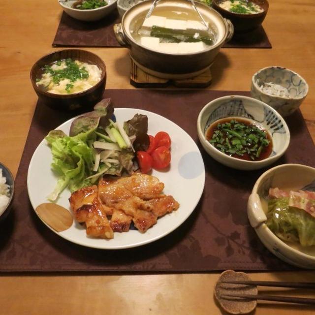 豚肉金山寺味噌漬&湯豆腐などの晩ご飯 と アーモンドの花♪