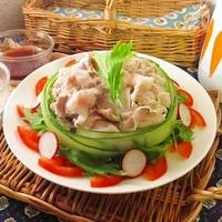 蒸かし茄子と冷しゃぶサラダ(ゆかりクリームタレ)