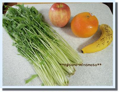 水菜+グレープフルーツ+りんご+バナナのグリーンスムージー