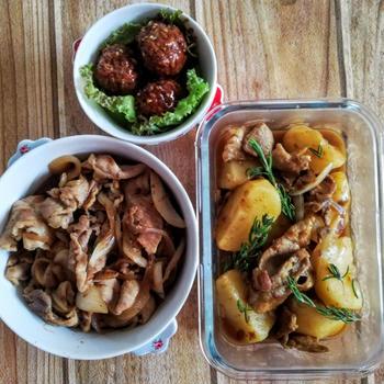 【作りおき】豚肉とじゃがいものハーブ炒め、豚の生姜焼き、甘辛肉団子