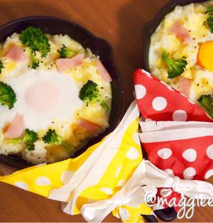 簡単朝ごはん!即席半熟エッグドリアで「ブーケファスト」*スキレット
