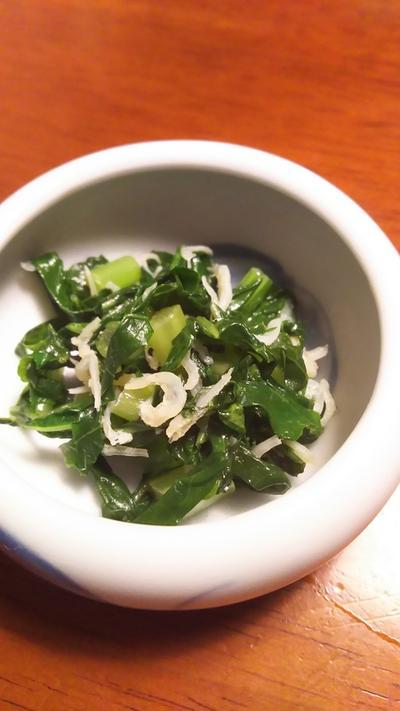 きのうのおつまみ  大根菜とじゃこの炒め煮